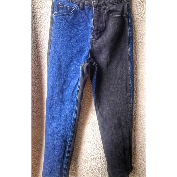 Color-block Blue/Black High-rise TOPSHOP Mom Jeans